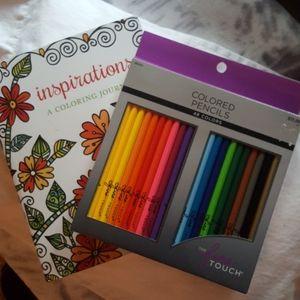 Inspirational coloring journal and pencil set